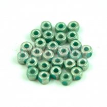 Matubo - 3-cut seedbead - Turquoise Green Antique Silver Luster - 6/0