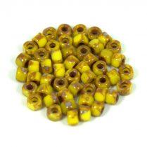 Matubo - 3 oldalon vágott kásagyöngy - yellow picasso - 6/0