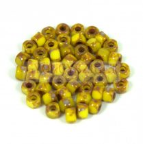 Matubo - 3-cut seedbead - Yellow  Picasso - 6/0