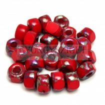 Matubo - 3-cut seedbead - Red Picasso - 2/0