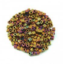 Miyuki Cube Japanese Glass Bead - 462 - Metallic Gold Iris - 1.8mm