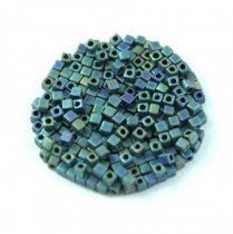 Miyuki Cube Japanese Glass Bead - 2064 - Matte Metallic Blue Green Iris - 1.8mm