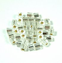 Miyuki kocka gyöngy - 1 - ezüst közepű kristály-3mm