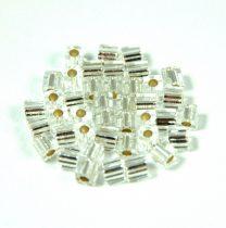 Miyuki kocka gyöngy - 1 - Silver Lined Crystal - 3mm