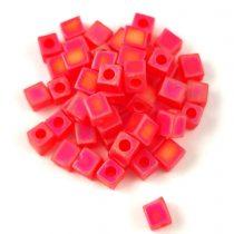 Miyuki kocka gyöngy - 0140fr - Matte Transparent Red Orange AB - 4mm