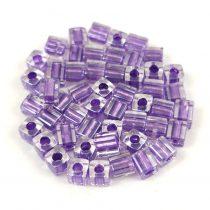 Miyuki kocka gyöngy - 2607 -  Sparkling Purple Lined Crystal - 4mm