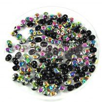 Miniduo gyöngy 2.5x5mm - fekete vitrail