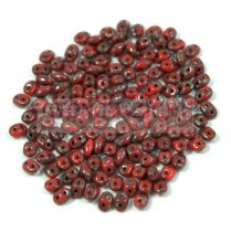 Miniduo bead 2.5x4mm opaque dark red picasso