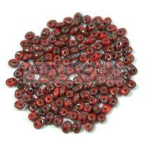 Miniduo gyöngy - 2.5x4mm - Opaque Dark Red Picasso