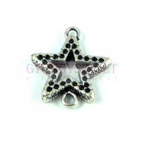 Medál - csillag - antik ezüst színű - 25mm