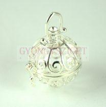 Medál - angyalhívó - ezüst színű - 30x22mm
