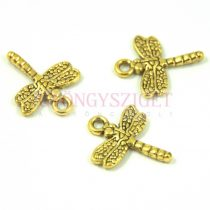 Medál - szitakötő - arany színű - 20x16mm