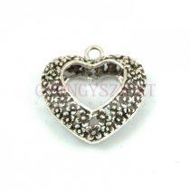 Medál - szív - antik ezüst színű - 20mm