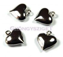Medál - szív - platina színű - 12mm