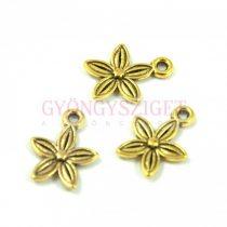 Medál - virág - antik arany színű - 10x13mm
