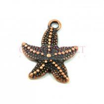Medál - tengeri csillag - antik vörösréz színű - 21x18mm