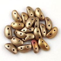 Mobyduo cseh préselt kétlyukú gyöngy - Yellow Gold Iris - 3x8mm