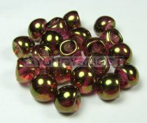 Mushroom - Czech Glass Bead - gold lustered pink - 9x8mm