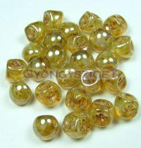 Mushroom - Czech Glass Bead - marble opal honey - 9x8mm