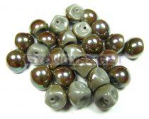 Mushroom - Czech Glass Bead - opal lustered oliva - 9x8mm