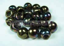 Mushroom - Czech Glass Bead - dark bronze iris - 9x8mm