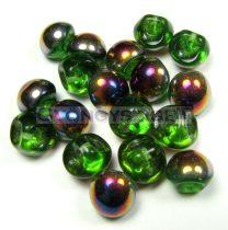 Mushroom - Czech Glass Bead - Peridot gold sliperit - 9x8mm