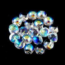 Mushroom - Czech Glass Bead - Crystal AB - 4x3mm