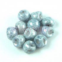 Mushroom - Czech Glass Bead - White Blue Travertin - 9x8mm