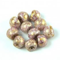 Cseh gomba gyöngy (mushroom) - White Purple Bronze Luster - 9x8mm