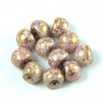 Mushroom - Czech Glass Bead - White Purple Bronze Luster - 9x8mm