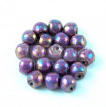 Cseh gomba gyöngy (mushroom) - Alabaster Eggplant Bronze Iris - 6x5mm