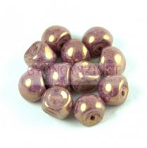 Mushroom - Czech Glass Bead - White Mauve Gold Luster - 9x8mm