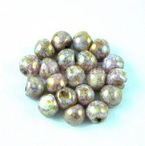 Cseh gomba gyöngy (mushroom) - alabástrom lila barna márvány - 6x5mm