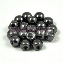 Cseh gomba gyöngy (mushroom) - gunmetal (hematit) - 6x5mm