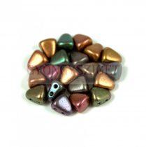 Nib-Bit - Czech Pressed 2 Hole Bead - 6x5mm - Matte Metallic Bronze Iris