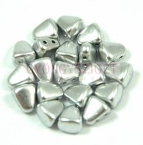 Nib-Bit - Czech Pressed 2 Hole Bead - 6x5mm - Aluminium
