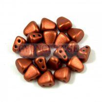 Nib-Bit - Czech Pressed 2 Hole Bead - 6x5mm - Matte Rust