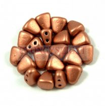 Nib-Bit - Czech Pressed 2 Hole Bead - 6x5mm - Matte Metallic Copper