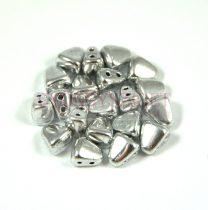 Nib-Bit - Cseh préselt kétlyukú gyöngy - 6x5mm - Silver