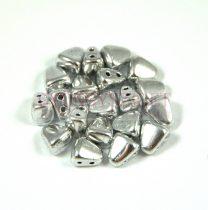 Nib-Bit - Czech Pressed 2 Hole Bead - 6x5mm - Silver