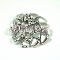 Nib-Bit - Czech Pressed 2 Hole Bead - 6x5mm - Silver