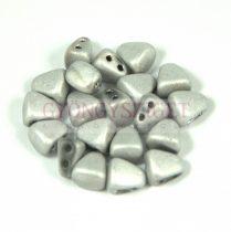 Nib-Bit - Czech Pressed 2 Hole Bead - 6x5mm - Matte Silver