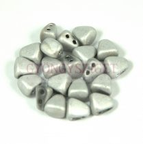 Nib-Bit - Czech Pressed 2 Hole Bead - 6x5mm - Matte Silver