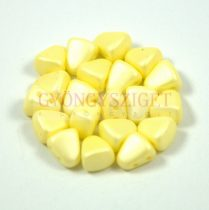 Nib-Bit - Czech Pressed 2 Hole Bead - 6x5mm - Silk Satin Yellow