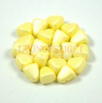 Nib-Bit - Czech Pressed 2 Hole Bead - 6x5mm - Silk Satin Yellow