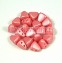 Nib-Bit - Czech Pressed 2 Hole Bead - 6x5mm - Silk Satin Light Red