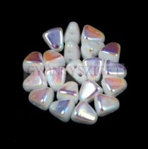 Nib-Bit - Czech Pressed 2 Hole Bead - 6x5mm - White AB
