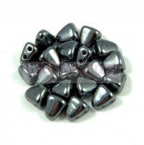 Nib-Bit - Czech Pressed 2 Hole Bead - 6x5mm - Gunmetal