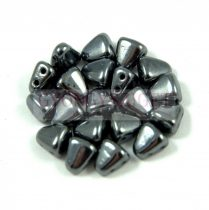 Nib-Bit - Czech Pressed 2 Hole Bead - 6x5mm - Gunmetal