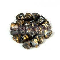 Nib-Bit - Cseh préselt kétlyukú gyöngy - 6x5mm - Tweedy Gold